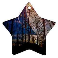 Full Moon Forest Night Darkness Star Ornament (two Sides) by Nexatart