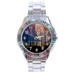 Full Moon Forest Night Darkness Stainless Steel Analogue Watch by Nexatart