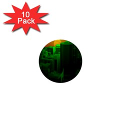Green Building City Night 1  Mini Buttons (10 Pack)