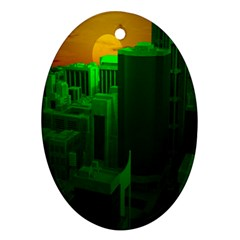 Green Building City Night Oval Ornament (two Sides) by Nexatart