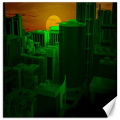 Green Building City Night Canvas 12  X 12   by Nexatart