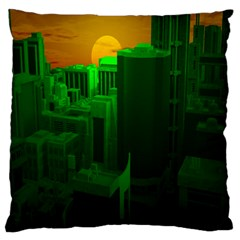Green Building City Night Large Flano Cushion Case (two Sides) by Nexatart
