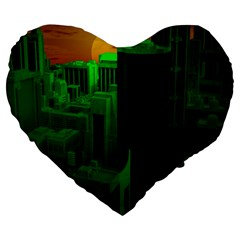 Green Building City Night Large 19  Premium Flano Heart Shape Cushions by Nexatart