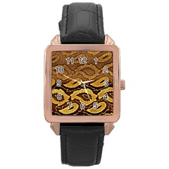 Golden Patterned Paper Rose Gold Leather Watch  by Nexatart