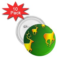 Gold Reindeer 1 75  Buttons (10 Pack)