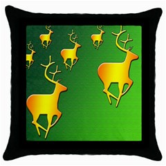 Gold Reindeer Throw Pillow Case (black)