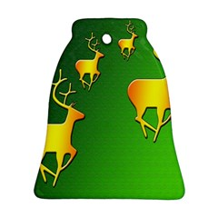 Gold Reindeer Bell Ornament (two Sides)