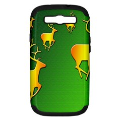 Gold Reindeer Samsung Galaxy S Iii Hardshell Case (pc+silicone) by Nexatart