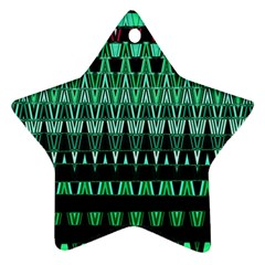 Green Triangle Patterns Ornament (star) by Nexatart