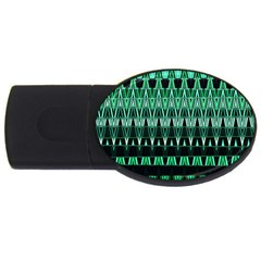 Green Triangle Patterns Usb Flash Drive Oval (4 Gb) by Nexatart