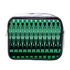 Green Triangle Patterns Mini Toiletries Bags by Nexatart