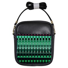 Green Triangle Patterns Girls Sling Bags by Nexatart