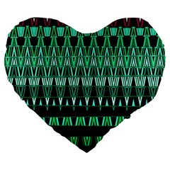 Green Triangle Patterns Large 19  Premium Heart Shape Cushions by Nexatart
