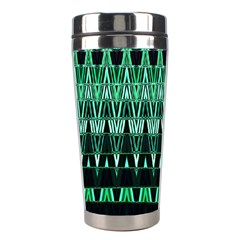 Green Triangle Patterns Stainless Steel Travel Tumblers by Nexatart