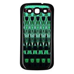 Green Triangle Patterns Samsung Galaxy S3 Back Case (black) by Nexatart