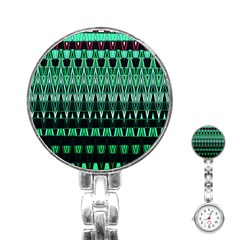 Green Triangle Patterns Stainless Steel Nurses Watch by Nexatart