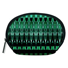 Green Triangle Patterns Accessory Pouches (medium)  by Nexatart