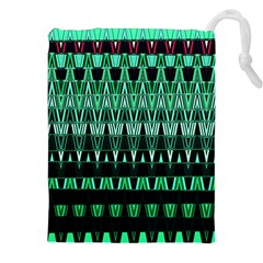 Green Triangle Patterns Drawstring Pouches (xxl) by Nexatart