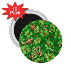 Green Holly 2 25  Magnets (10 Pack)