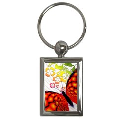 Greeting Card Butterfly Kringel Key Chains (rectangle)  by Nexatart