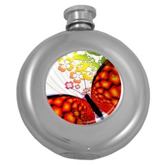 Greeting Card Butterfly Kringel Round Hip Flask (5 Oz) by Nexatart