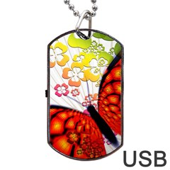 Greeting Card Butterfly Kringel Dog Tag Usb Flash (two Sides) by Nexatart