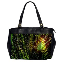 Green Leaves Psychedelic Paint Office Handbags (2 Sides)  by Nexatart