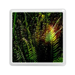 Green Leaves Psychedelic Paint Memory Card Reader (square)  by Nexatart