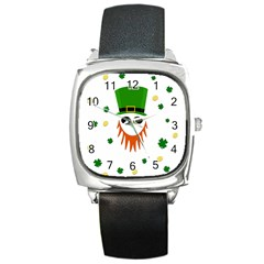 St  Patrick s Day Square Metal Watch by Valentinaart