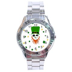 St  Patrick s Day Stainless Steel Analogue Watch by Valentinaart