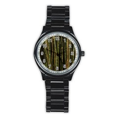 Green And Brown Bamboo Trees Stainless Steel Round Watch