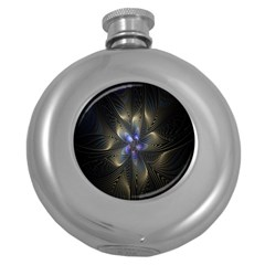 Fractal Blue Abstract Fractal Art Round Hip Flask (5 Oz) by Nexatart