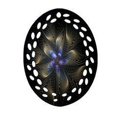 Fractal Blue Abstract Fractal Art Ornament (oval Filigree) by Nexatart