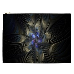 Fractal Blue Abstract Fractal Art Cosmetic Bag (xxl)
