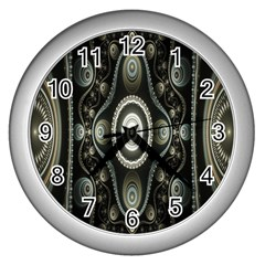 Fractal Beige Blue Abstract Wall Clocks (silver)  by Nexatart