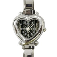 Fractal Beige Blue Abstract Heart Italian Charm Watch by Nexatart