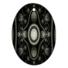 Fractal Beige Blue Abstract Oval Ornament (two Sides)