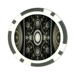 Fractal Beige Blue Abstract Poker Chip Card Guard by Nexatart