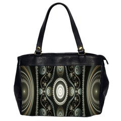 Fractal Beige Blue Abstract Office Handbags (2 Sides)  by Nexatart