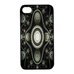 Fractal Beige Blue Abstract Apple Iphone 4/4s Hardshell Case With Stand by Nexatart
