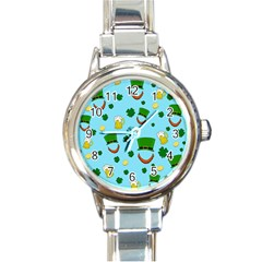 St  Patrick s Day Pattern Round Italian Charm Watch by Valentinaart