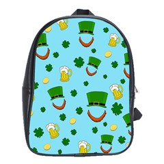 St  Patrick s Day Pattern School Bags (xl)  by Valentinaart