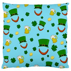 St  Patrick s Day Pattern Large Flano Cushion Case (two Sides) by Valentinaart
