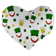 St  Patrick s Day Pattern Large 19  Premium Flano Heart Shape Cushions by Valentinaart