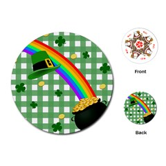 St  Patrick s Day Rainbow Playing Cards (round)  by Valentinaart