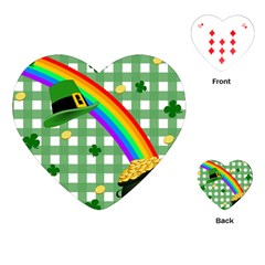 St  Patrick s Day Rainbow Playing Cards (heart)  by Valentinaart