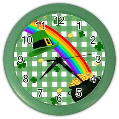 St  Patrick s Day Rainbow Color Wall Clocks by Valentinaart