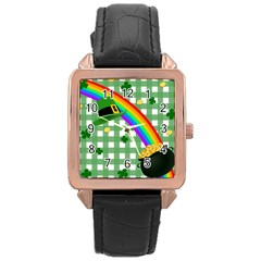 St  Patrick s Day Rainbow Rose Gold Leather Watch  by Valentinaart