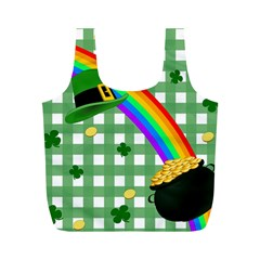 St  Patrick s Day Rainbow Full Print Recycle Bags (m)  by Valentinaart