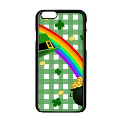 St  Patrick s Day Rainbow Apple Iphone 6/6s Black Enamel Case by Valentinaart